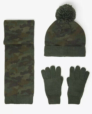 M&S Older Boys Hat Gloves Scarf Set 10-14 Years Green Camo RRP £17.50