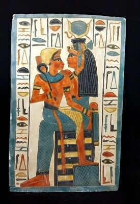 Isis Nursing Egypt Horus relief wall stone Egyptian Antique Large hieroglyphic
