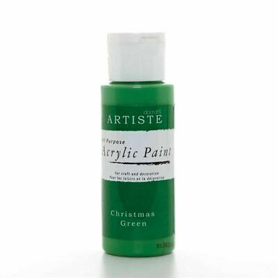 DoCrafts Artiste Christmas Green Acrylic Craft Paint - 59ml / 2oz Bottle