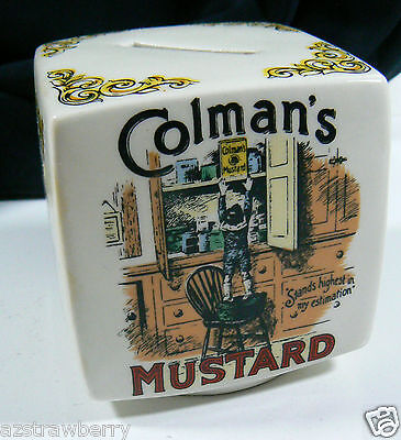 "Porcelain England Bank Victorian Advertisement Colman""s Mustard"