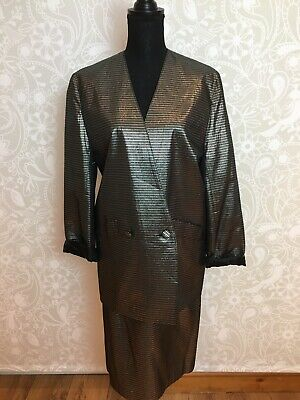 80s Vintage Gold / Silver Stripe Skirt Suit, New Wave, Studio 54 Disco! Hamells.
