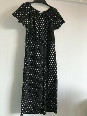 F&F girls play/jumpsuit/dress ruffled black with white polka dots age 5-6 years