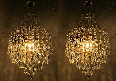 "Pair Of Antique Vnt French Palm Swarovski Crystal Chandelier Lamp 1960's 14"" Ø"