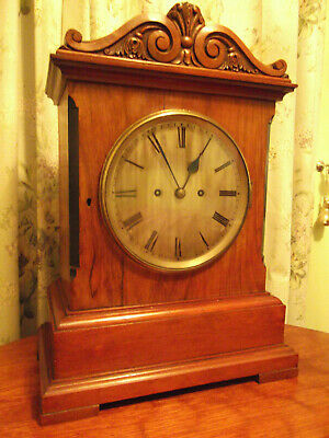 """Antique Ting Tang double Chain fusee large boardroom bracket clock . 8"""" Dial"""