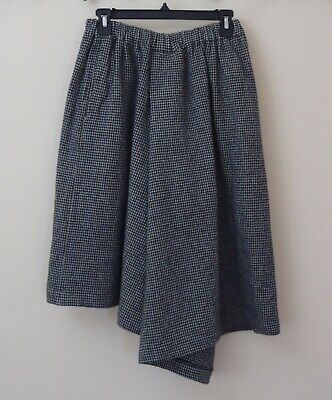 COMME des GARCONS Women's Wool Houndstooth Wide Leg Cropped Skirt Pant Size XS