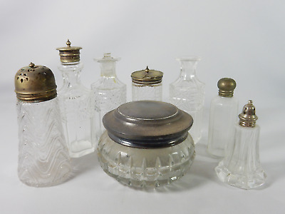 Antique Vintage Bulk Job Lot Glass Silver Bottles Cruet Spare Salt Shaker Vanity