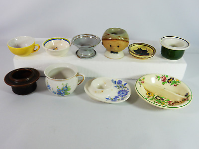 Antique Vintage Retro 10pc Bulk Job Lot Egg Cup Small Dish Bowl Plate Collection