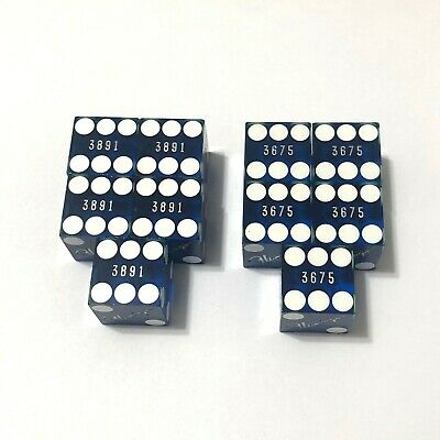 10pc Blue Flamingo Las Vegas Casino Used Dice 2sets x5 Matching Numbers Dices