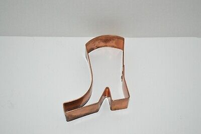 """Vintage 4 1/2""""  Boot Shaped Heavy Duty Copper Cookie Cutter"""
