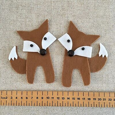 x 2 FOX Felt Shapes Applique Embellishments Bunting  Baby Collage Craft Die Cuts
