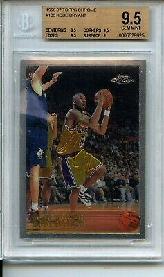 1996-97 Topps Chrome #138 Kobe Bryant Rookie Card BGS 9.5 W 9.5 Centering Lakers