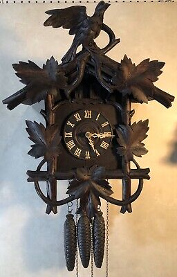 Early Muller & Co. Large German Black Forest Cuckoo Quail Wall Clock