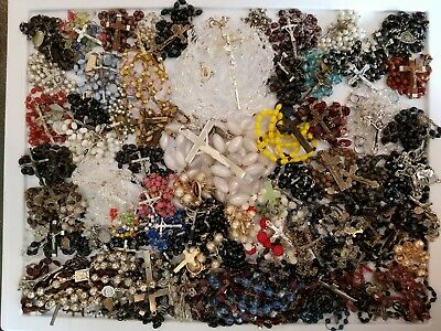 75+ Vintage Mod Religious Rosaries LOT Extra Large Lasso Sterling Italy France+