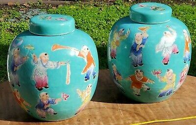 Antique Chinese Turquoise-Ground 100 Boys Jars its MARKED Famille rose Porcelain
