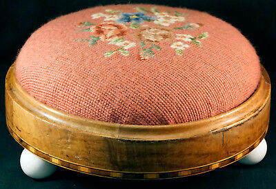 Antique 3 Footed Low Wooden Footstool with Needlepoint Flowers Fabric