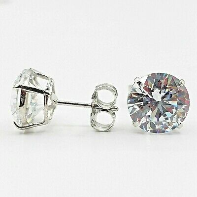 Solid 14k White Gold 4 Ct Round Created Diamond Stud Earrings Screw Back 8 mm