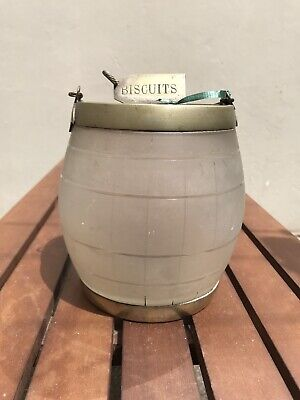 Antique Biscuit Glass Container