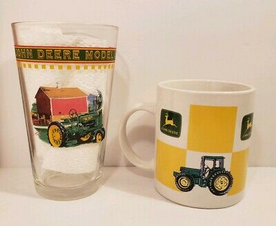 Set of 2 John Deere Gibson Coffee Mug and Drinking Glass 1935 Tractor Farming