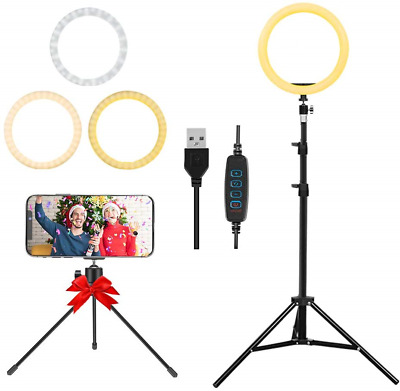 LED Ring Light 10-inch with Tripod Stand and Phone Holder, Flexible Hose, USB