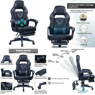 Reclining Gaming Chair w/ Adjustable Massage Lumbar Pillow & Footers FreeShip US