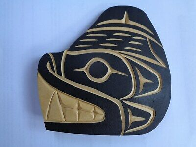 Pacific Northwest Indigenous Wood Hand Carving of Bear Head by Chester Joseph