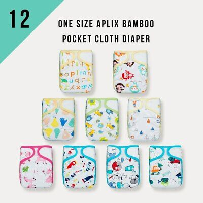 Value Pack! KaWaii Baby One Size Aplix Bamboo Pocket Cloth Diaper (12/24/36)