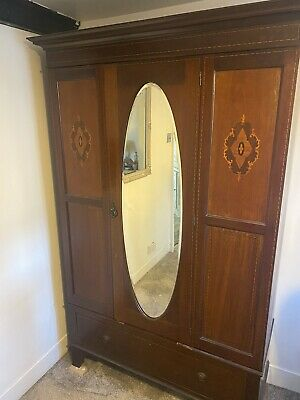 Edwardian Mirrored mahogany Inlaid wardrobe