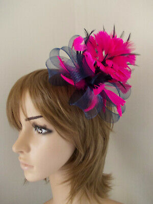 Navy Blue & Cerise Hot Pink Looped fascinator feathers hair clip brooch