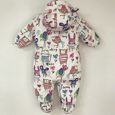 Next Baby Girl Snowsuit, Size 9 -12 Months, Lined Winter Cosy Snow Suit