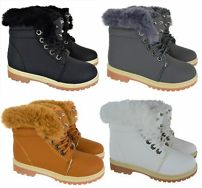 Kids Girls Winter Warm Fur Lined Ankle Lace Up Grip Sole Boys Trainers Boots Sz