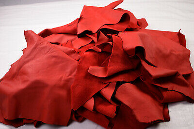 Bright Red Upholstery Scraps 2-3 hands - ELMO Cowhide offcuts | FULL GRAIN