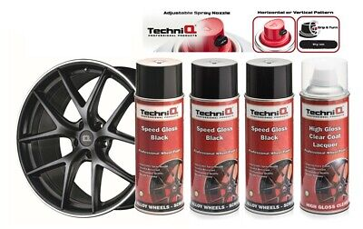 Alloy Wheel Paint Spray SPEED GLOSS BLACK + CLEAR GLOSS LACQUER 4 Cans TECHNIQ