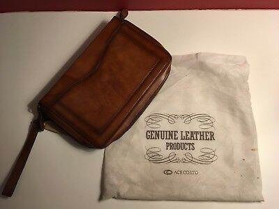 Leather Clutch Bag with 2 Silk Handkerchief - vintage