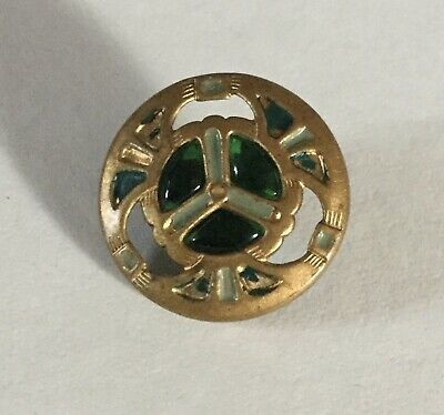Divided Green Glass Jewel Pierced Metal Color Tint Antique Button Old Small