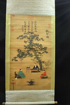 Very Large Chinese Old Scroll Hand Painting Landscape and Figures Marks
