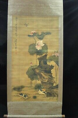 """Very Large Old Chinese Scroll Hand Painted Lotus """"ChenHongShou"""" Marks"""