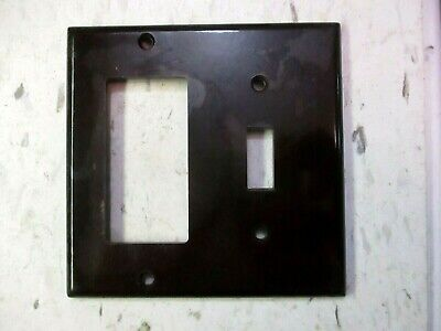 Leviton 2Gang Brown Smooth Bakelite Switch Outlet Combo Plate Wall Cover Vintage