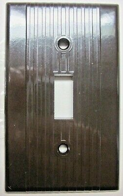 Leviton Switch Plate Wall Cover Ribbed Lines Brown Bakelite Art Deco 1 Vintage