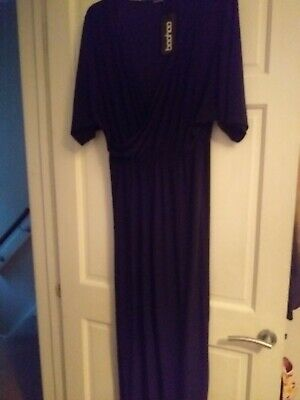 BNWT Boohoo Jumpsuit Navy Blue Evening Party Christmas Size 14