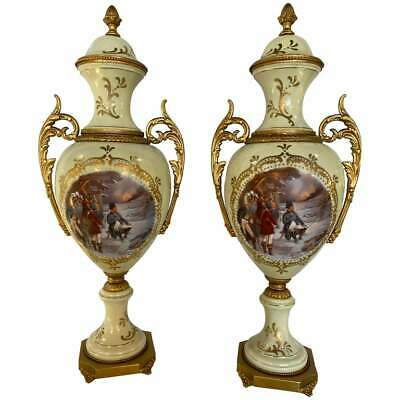 French Porcelain Sevres Scenic Vases Each Signed Redly. Belle Époque Style