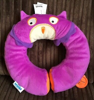 Purple Yondi Small Trunki Kids Travel Neck Pillow with Magnetic Childs Chin Support Ollie Owl