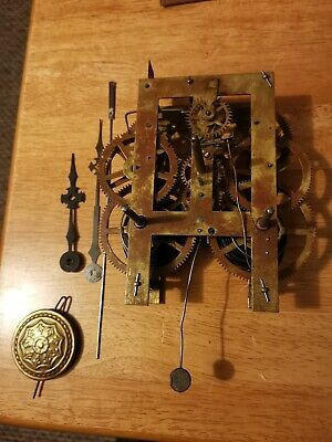 Antique American Wall Clock Movement Hands Pendulum Suspension fully  Working
