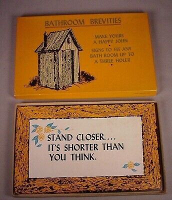 Vintage Bar Signs 10 Funny bathroom sign set 1959 orig box barware Gag gift MIB