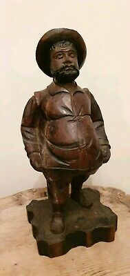 Antique Victorian Black Forest carved wooden FIGURAL Old  fat Man German