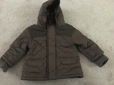 MARKS & SPENCER BABY BOYS BROWN QUILTED COAT, Age 9-12 Months, Ex Condition