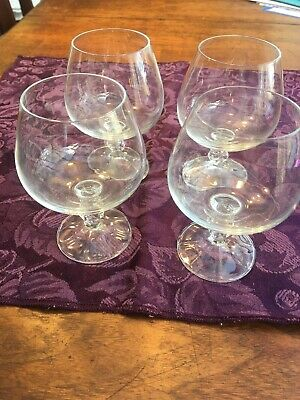 4 Crystal Brandy Goblets In The Claudia Pattern. Bohemian.