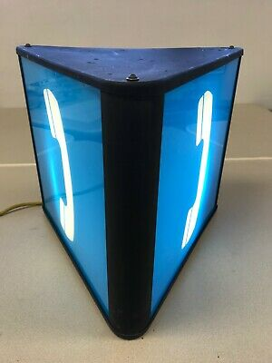 3 Sided Bell System Lighted Pay Phone Sign