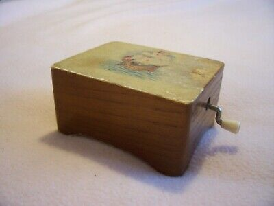 Vintage Wooden Swiss Musicial Box With Boat Detail