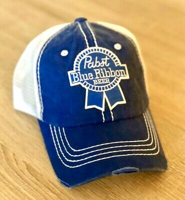 PBR Beer Pabst Blue Ribbon Embroidered Patch Style Hat Cap Mesh Distressed Denim