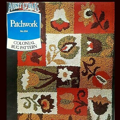 Aunt Lydias Latch Hook Rug Colonial Patchwork Pattern 204 Stamped Canvas VTG 70s